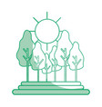 silhouette forest with trees and sun vector image vector image