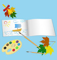 sketchbook palette with paints and brush vector image vector image