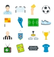 Soccer flat icons set vector image vector image