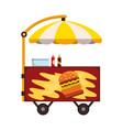 street fast food cartoon fast-food cart vector image vector image