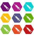 syringe icons set 9 vector image