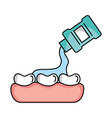 tooth care with mouthwash vector image vector image