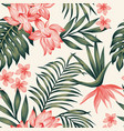 tropical composition leaves flowers white vector image vector image