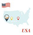 usa map with route 66 pin travel concept vector image vector image