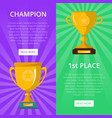 win celebration banners with golden goblets vector image