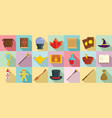 wizard tools icons set flat style vector image vector image