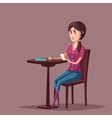 Woman or girl with smartphone sitting at cafe vector image