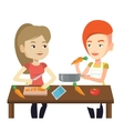 Women cooking healthy vegetable meal vector image