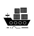 cargo delivery by sea ship icon vector image