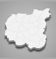 3d isometric map chernihiv oblast is a region vector image vector image