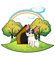 A dog beside a dog house vector image vector image