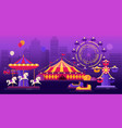 amusement park on a city landscape background vector image vector image