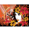 Autumn Girl with Floral vector image