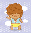 baby boy with curly hair and diaper vector image vector image