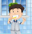 Boy brushing teeth in the bathroom vector image vector image