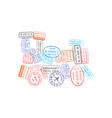 bright colorful immigration stamps arranged vector image