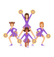 cheerleader girls with colorful pompoms dancing to vector image vector image