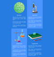chemistry and biology posters set with equipment vector image vector image
