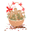 christmas gingerbread man cookies in gift basket vector image vector image