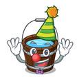 clown wooden bucket mascot cartoon vector image vector image