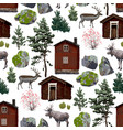 collection wooden houses coniferous trees vector image