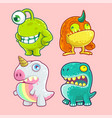 cute monster character set vector image vector image