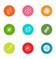 disease development icons set flat style vector image vector image