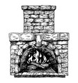 fire in fireplace engraving vector image