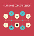 flat icons fishing suv caravan and other vector image vector image