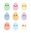 Funny happy eggs in kawaii style cute cartoon