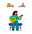 girl playing on guitar at home vector image vector image