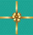 golden bow knot on silk ribbon vector image
