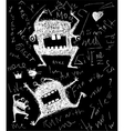 Hairy freaky creature monster monochrome scribble vector image vector image