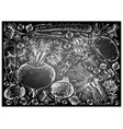 hand drawn of root and tuberous vegetables on chal vector image vector image