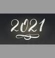 handwritten chalk number new year 2021 vector image