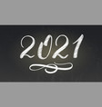 handwritten chalk number new year 2021 with vector image