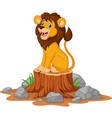 happy cartoon lion sitting on tree stump vector image vector image
