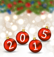 Happy new year in hanging glass ball vector image