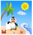 Happy penguin holding blank paper vector image