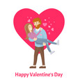 happy valentines day poster man with beard woman vector image vector image