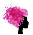head with watercolor hear vector image vector image