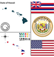 Map of Hawaii with seal vector image