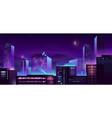 modern metropolis night buildings cartoon vector image vector image