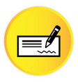 money cheque icon yellow circle frame background v vector image