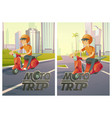 moto trip posters with man on scooter on city road vector image