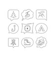 mountain fishing hook and hiking boots icons vector image