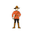 Mounted Police Officer Standing Front vector image vector image
