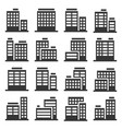 Office building icons set on white background