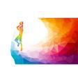 polygonal geometric basketball player jump shot vector image vector image