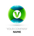 realistic letter v logo symbol in colorful circle vector image vector image